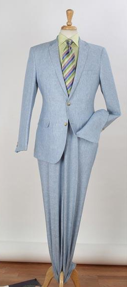 Mens Blue Two Button Style Two Piece Notch Lapel Side Vented Slim Fit Linen Suit, act now only $156.00