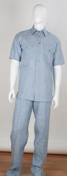 Mens Blue Two Piece Short Sleeve Double Chest Pockets Linen Suit, act now only $100.00