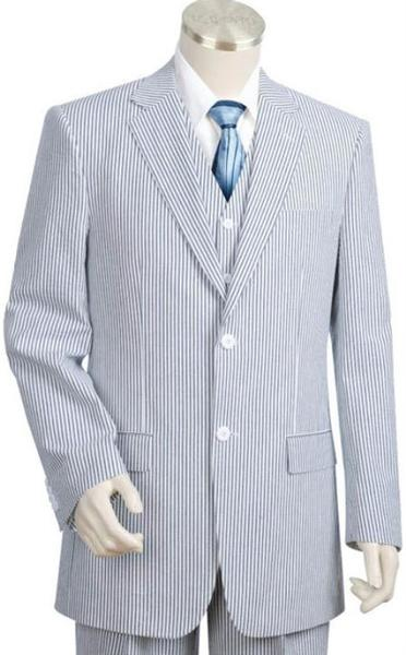 Mens BlueoffWhite Two Button Style Suit, act now only $175.00