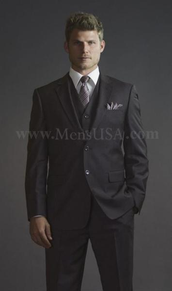 Mens Brown color shade Pinstripe Fitted affordable suit (CHECK COLOR), act now only $275.00