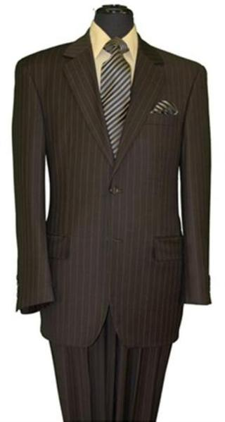 Mens brown color shade Stripe Two Button Style Suit, act now only $119.00