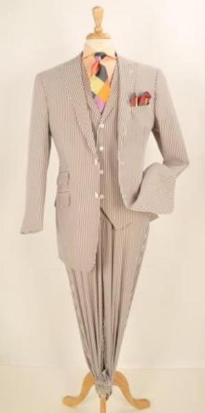 Mens brown color shade Summer Seersucker Fabric Fashion Suit, act now only $175.00
