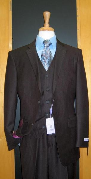 Mens brown color shade Tone on Tone Wool Fabric Blend Flat Front three piece suit, act now only $165.00