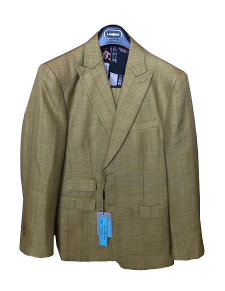 Mens Brown Linen Cotton Summer Fabric Two Buttons Peak lapel Suit, act now only $199.00