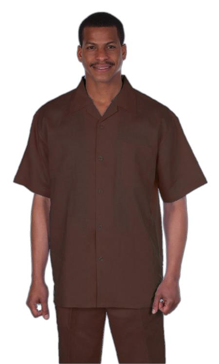 Mens Brown Online trendy casual two piece sets Summer Casual Linen Suit, act now only $75.00