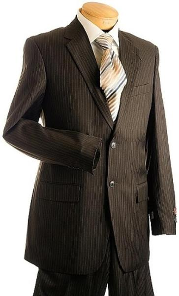 Mens Brown Two Button Style Pinstripe Suit, act now only $149.00