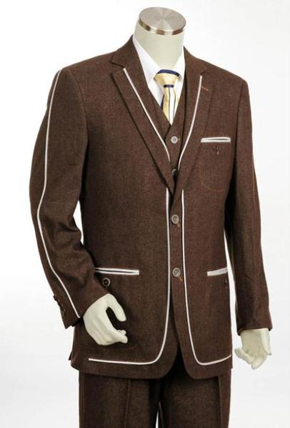 Mens Brown Two Button Denim Cotton Fabric Trimmed Suit, act now only $175.00