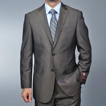 Mens Brown Two Button Style Narrow Fit Suit, act now only $135.00