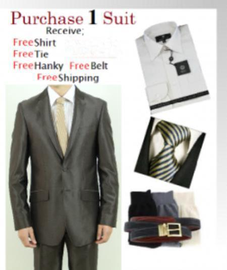 Mens Brown Two Button Style Slim Narrow Fit Suit, act now only $125.00