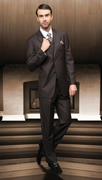 Mens Brown Two Button Style Superior Fabric Suit, act now only $175.00