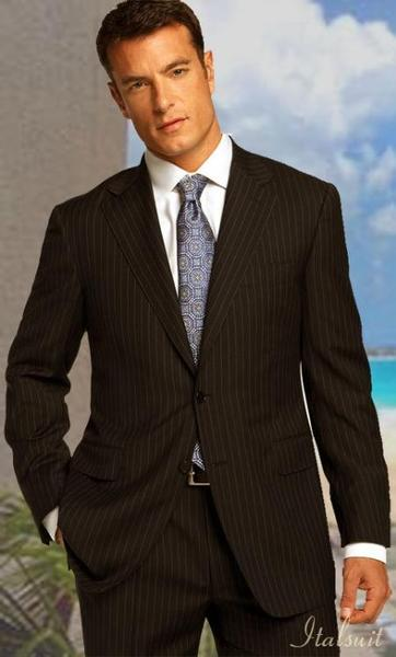 Mens Brown Two Button Style Two Piece Suit (CHECK COLOR), act now only $199.00