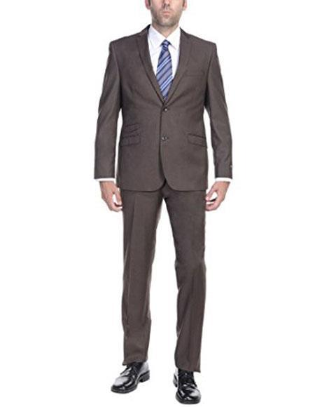 Mens Brown Two Button Ticket Pocket Mens Slim Fit Two-Piece Single Breasted ( Jacket Pants ) Suit, act now only $125.00