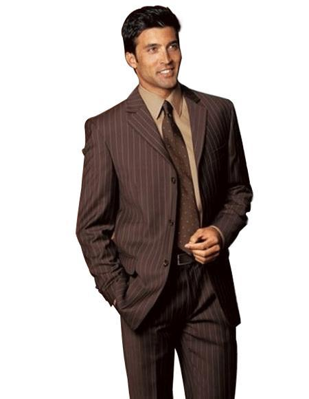 Mens Brown Two buttons Stripe Flat Front Pants Regular Fit Suit, act now only $199.00