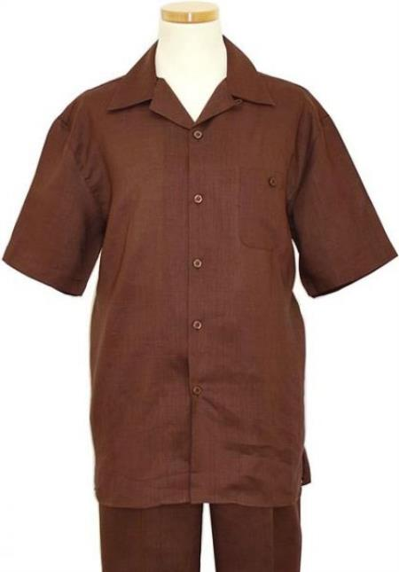 Mens Brown Two Piece Summer Walking Trendy Casual Suit, act now only $85.00