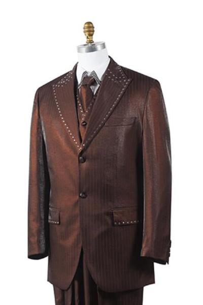 Mens brown Unique 2 Button Style Tuxedo Trimmed Pleated Slacks Pants, act now only $175.00