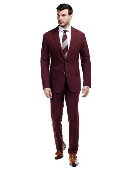 Mens Burgundy Maroon Two Button Alberto Nardoni Suit, act now only $250.00