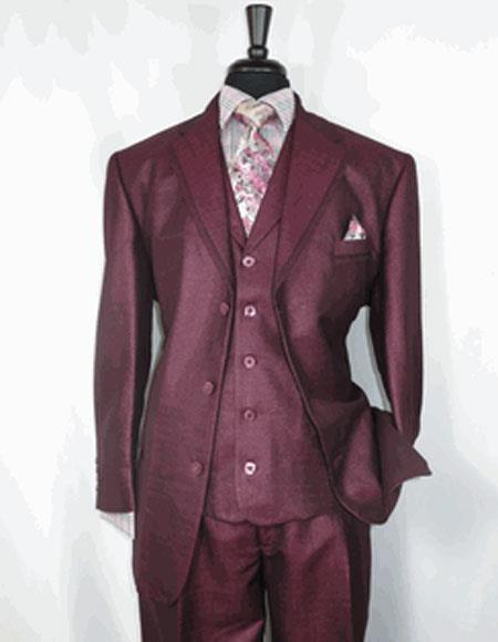 Mens Burgundy Three Button Notch Lapel Suit, act now only $149.00