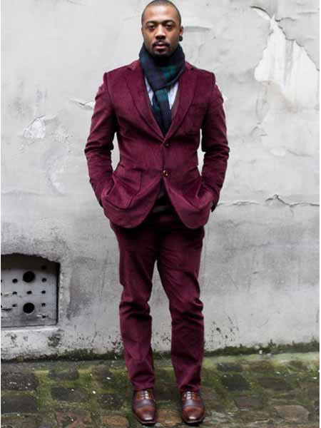 Mens Burgundy Two Button Style Corduroy Suit, act now only $100.00