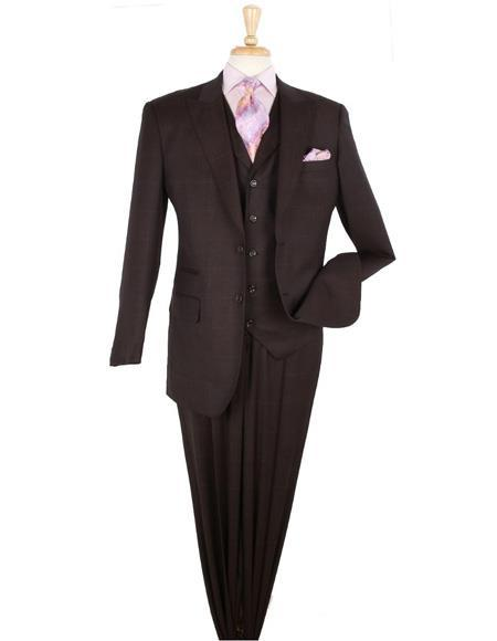 Mens Burgundy Two Button Style Peak Lapel Suit, act now only $175.00