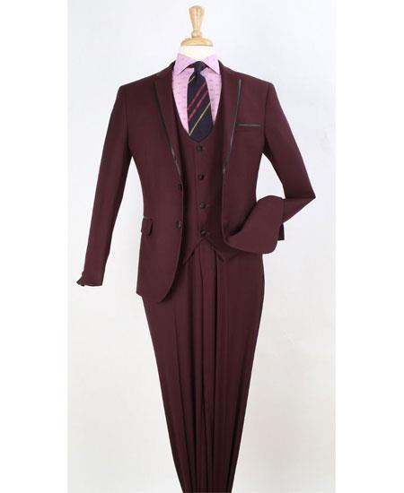 Mens Burgundy Two Button Style Trim Lapel Suit, act now only $199.00