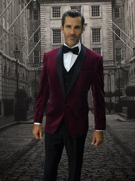 Mens Burgundy Two Button Style Velvet Suit, act now only $250.00