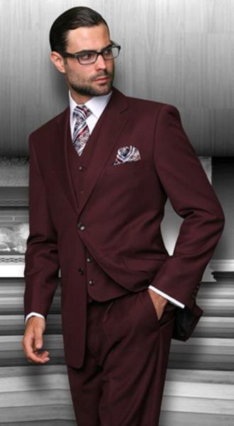 Mens Burgundy Wine Two Button Style Three Piece Suit, act now only $149.00
