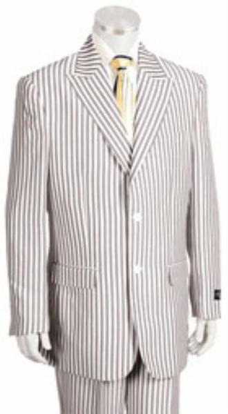 Mens Camel Two Button Style Pinstripe Suit, act now only $199.00
