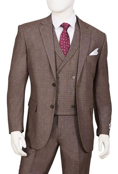 Mens Cedar Brown Two Button Double Breasted Vest Suit, act now only $160.00