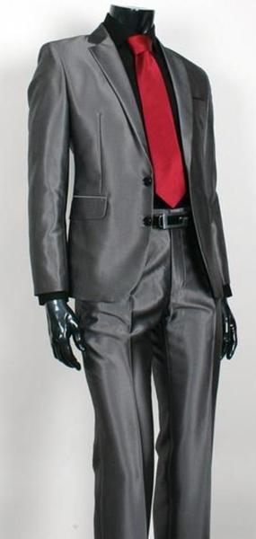 Mens Charcoal Gray Two Button Style Sharkskin Suit, act now only $149.00