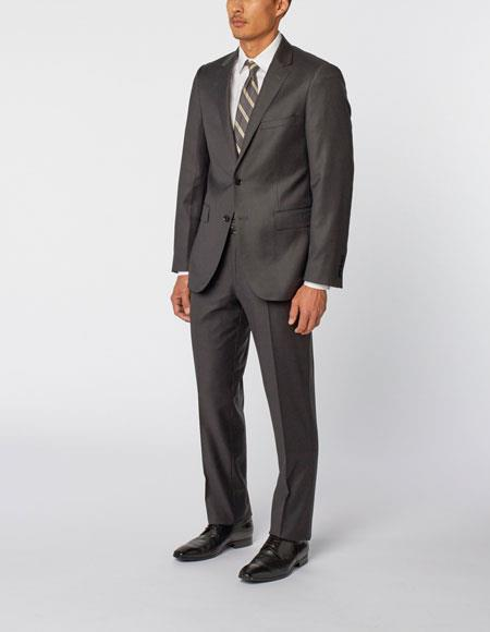 Mens Charcoal Single Breasted Notch Lapel 100% Wool Double Vent Two Piece Suit, act now only $299.00
