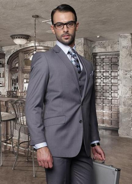 Mens Charcoal Two Button Style Italian Fabric Suit, act now only $189.00