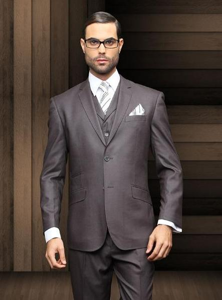 Mens Charcoal Two Button Style Slim Narrow Suit, act now only $165.00