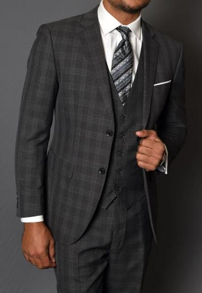 Mens Charcoal Two Button Style Vested Three Piece Suit, act now only $185.00