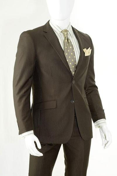 Mens Chocolate Slim narrow Style Fit Suits, act now only $125.00