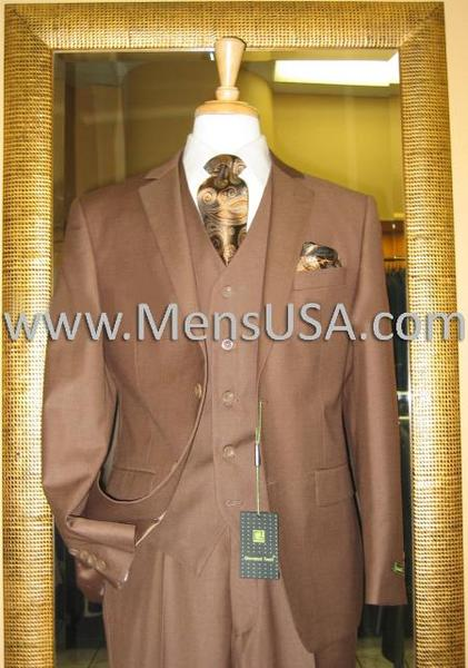 Mens Copper Two Button Style 3 Piece Mocca Fitted Suit, act now only $149.00