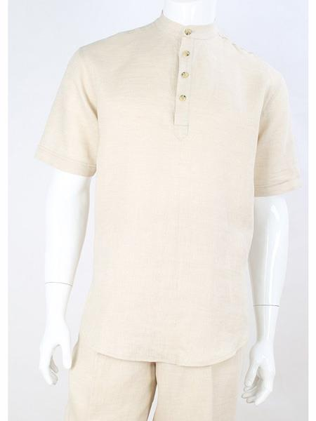 Mens Cream Safari Short Sleeve Casual No Collar Banded Mandarin Collar Linen Suit, act now only $120.00