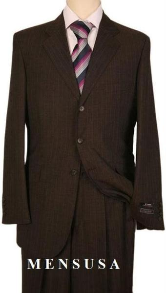 Mens Dark brown color shade Pinstripe Regular Fit Suit, act now only $165.00