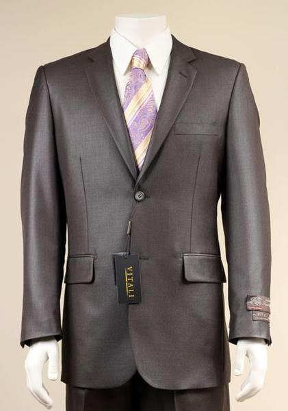 Mens Dark brown Two Button Suit New Edition Shiny Sharkskin Suit, act now only $175.00