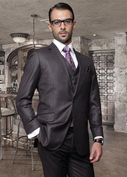 Mens Dark Grey Italian Wool Fabric Pick Stitched Lapel Suit, act now only $189.00
