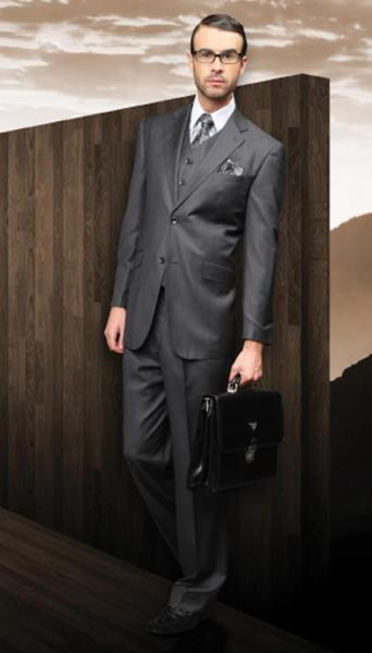 Mens Dark Grey Masculine color 2 Button Style Suit Superior Fabric Suit, act now only $175.00