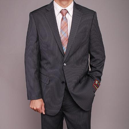 Mens Dark Grey Masculine color Pinstripe 2-button Suit, act now only $139.00