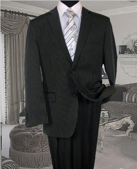Mens Dark Grey Masculine color With White Pinstripe Suit, act now only $109.00