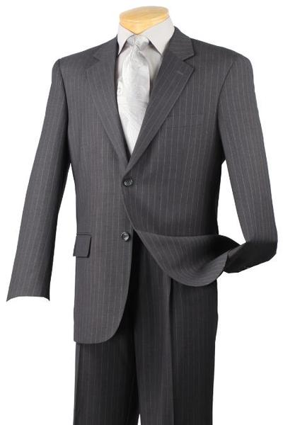 Mens Dark Grey Masculine Two Button Style Pinstripe Suit, act now only $139.00