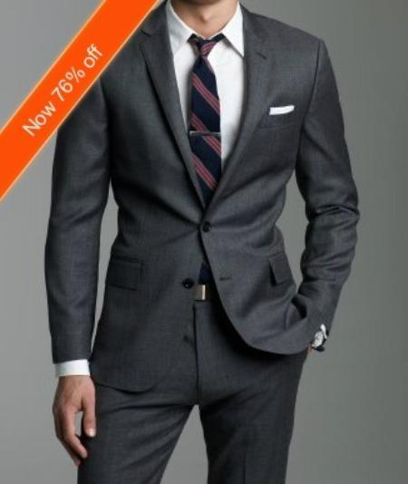 Mens Dark Grey Slim narrow Style Fitted Suit, act now only $165.00