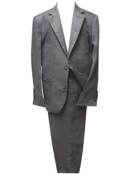Mens Dark Grey Two Button Style Single Breasted Notch Lapel Linen Suit, act now only $139.00