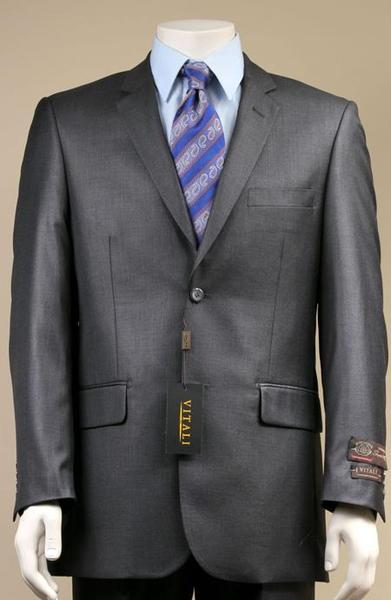 Mens Dark Grey Two Button Suit New Edition Shiny Sharkskin Suit, act now only $189.00