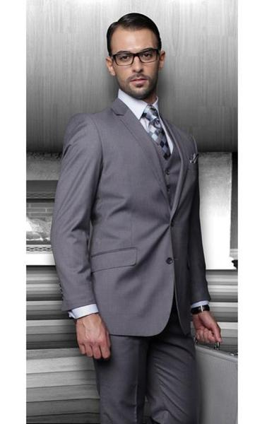 Mens Dark Grey Two Buttons Side Vented Vested No Pleated Slacks Pants, act now only $175.00