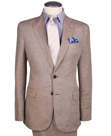 Mens Dark Tan ~ Khaki Two Button Style Linen Suit, act now only $189.00