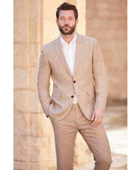 Mens Dark Tan Linen ~ Taupe ~ Khaki Two Button Style Suit, act now only $189.00