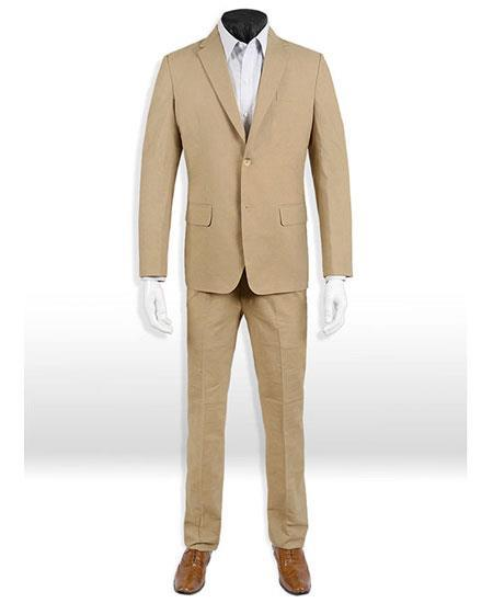 Mens Dark Tan Linen Taupe Two Button Style Suit, act now only $189.00
